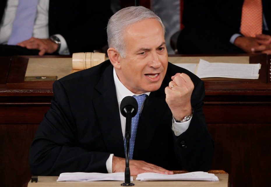 Israel's Prime Minister Benjamin Netanyahu makes a point as he addresses a joint meeting of Congress in Washington